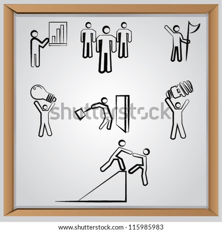 Business human resources,icon set,Vector - stock vector
