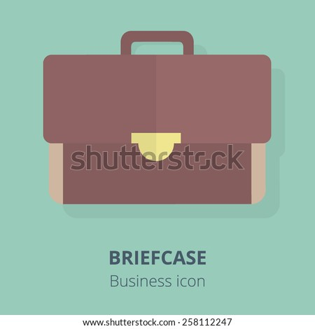 Business icon. Briefcase. Flat vector illustration. - stock vector