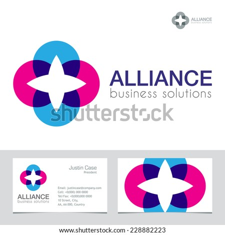 Business Icon & Business card vector template. Abstract symbol of energy, unity, links, connection, success. Brand visualization template. Business Sign template. Typography proposal. Editable - stock vector