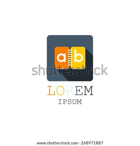 Business icon, notepad, notebook, book, logo, flat - stock vector