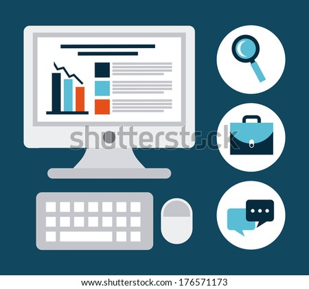 business icon over  blue background vector illustration - stock vector