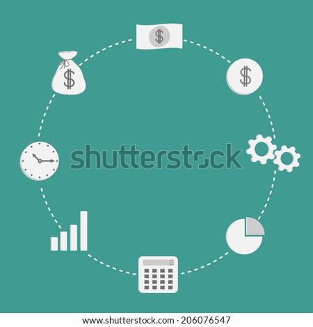 Business icon set. Dash line circle empty. Money, coin, bulb, calculator. Flat design. Vector illustration - stock vector