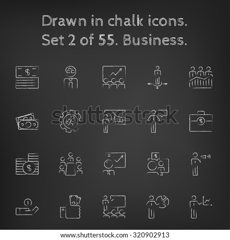 Business icon set hand drawn in chalk on a blackboard vector white icons on a black background. - stock vector