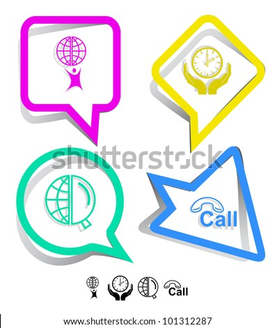 Business icon set. Little man with globe, globe and magnifying glass, clock in hands, hotline.  Paper stickers. Vector illustration. - stock vector