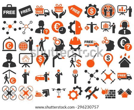 Business Icon Set. These flat bicolor icons use orange and gray colors. Vector images are isolated on a white background. - stock vector