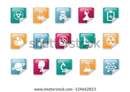 Business Icon Symbol Glossy Sticker Set Vector - stock vector