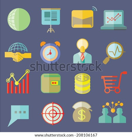 business icons, flat icons set - stock vector