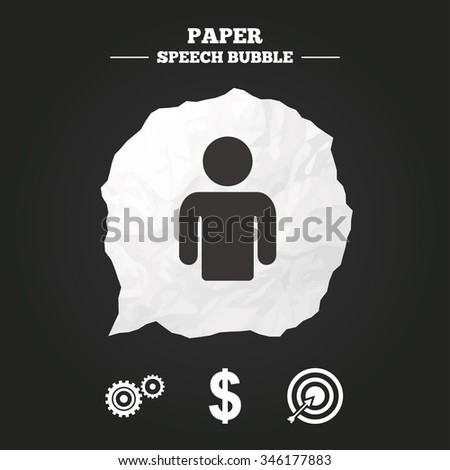Business icons. Human silhouette and aim targer with arrow signs. Dollar currency and gear symbols. Paper speech bubble with icon. - stock vector