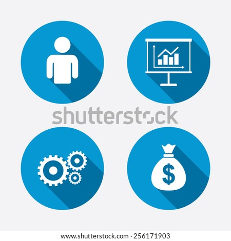 Business icons. Human silhouette and presentation board with charts signs. Dollar money bag and gear symbols. Circle concept web buttons. Vector - stock vector