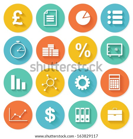 Business Icons in Flat Design for Web and Mobile Application - stock vector