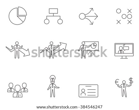 Business icons in thin outlines.  - stock vector