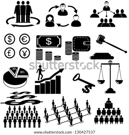 Business icons, management and human resources . - stock vector