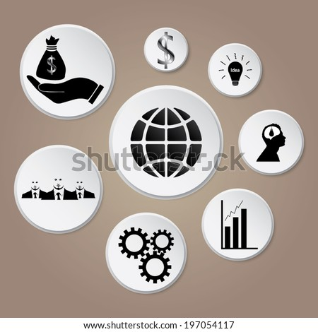 Business icons, management and human resources with shadow - stock vector