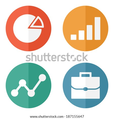 Business Icons on colored buttons. Vector illustration. - stock vector