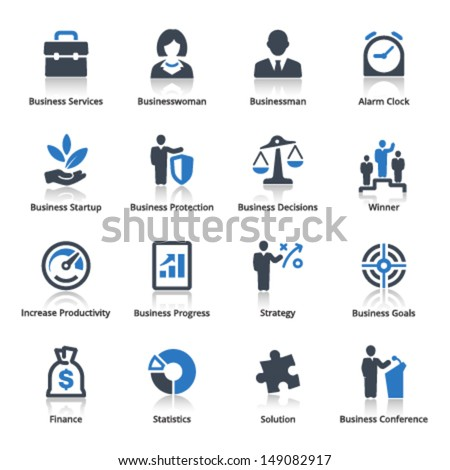 Business Icons Set 1 - Blue Series  - stock vector