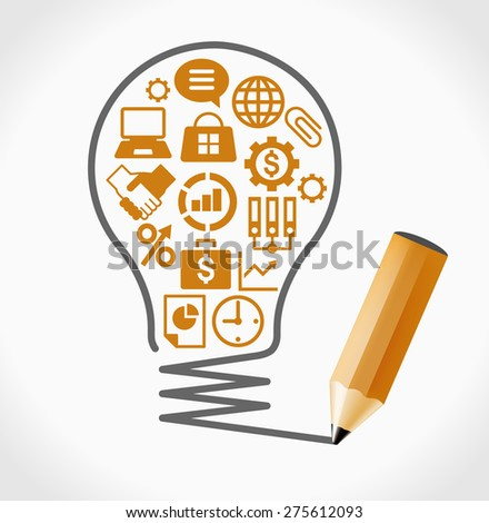 Business icons set. Concept of productive business ideas. Lightbulb with business icon and pencil. File is saved in AI10 EPS version. This illustration contains a transparency - stock vector