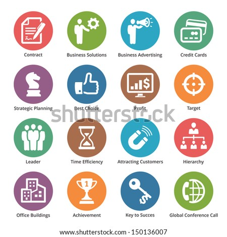 Business Icons Set 2 - Dot Series - stock vector