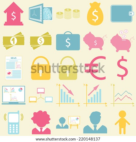 Business icons set. For infographics, presentation, cards and backgrounds. Vector illustration. - stock vector