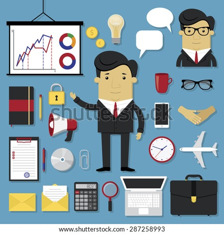 Business icons set in modern flat style - stock vector