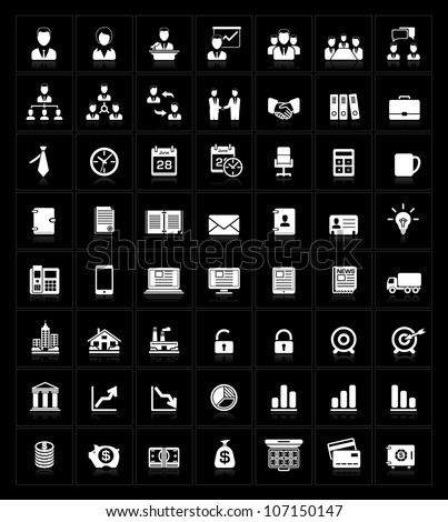 Business icons set on black - stock vector