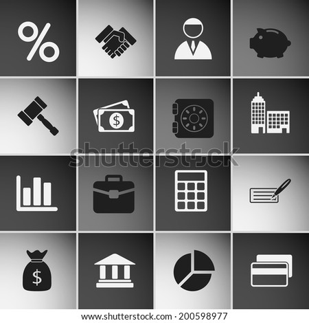 Business Icons Set. Vector Illustration - stock vector