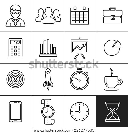 Business Icons. Vector illustration. Simplines series - stock vector