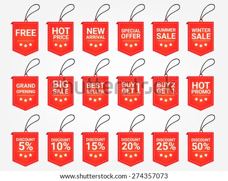 Business icons vector. Promotion tag. Price tag. Promotion label vector. Price vector. Promotion set vector. Product price vector. Discount price tag. Free tag vector - stock vector