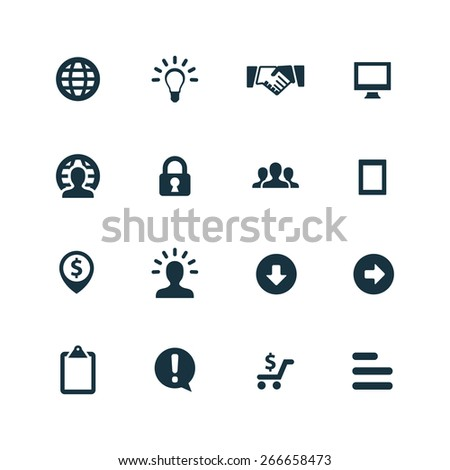 Business Icons Vector set. Business Icons Symbol set. Business Icons Picture set. Business Icon Image set. Business Icons Shape set. Business Icons Sign set on white background  - stock vector