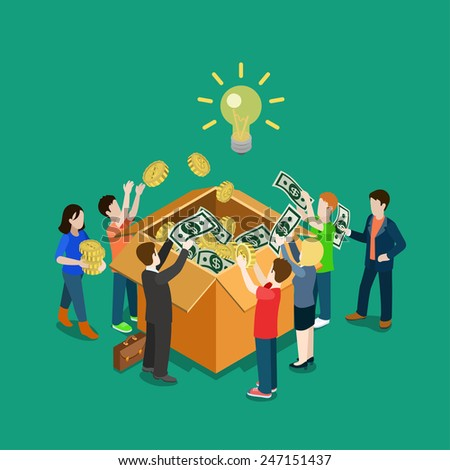 Business idea crowdfunding volunteer concept flat 3d web isometric infographic vector. Group of people putting money to box. Crowd funding process illustration. Creative people collection. - stock vector