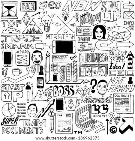 Business idea doodle set.  Vector illustration. - stock vector
