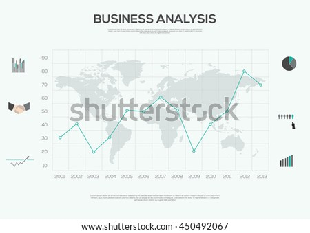 Business Industry Infographic Elements vector illustration. World Map and Information Graphics   - stock vector