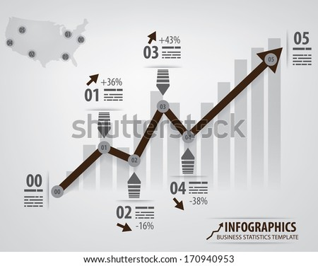Business infochart template with an arrow and different steps. Arrow is left as outline so it is easier to edit. - stock vector