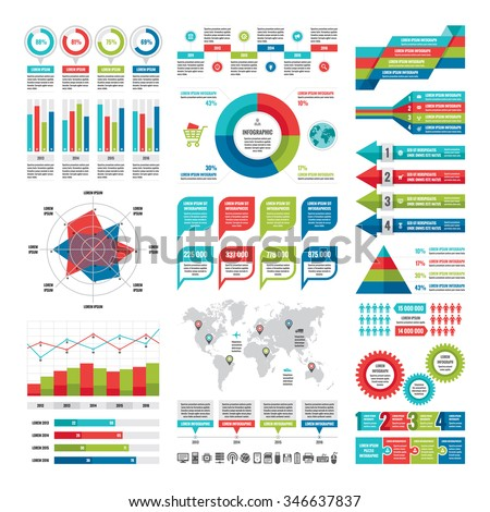 Business infographic concept - vector set of infographic elements in flat design style for presentation, booklet, website etc. Big set of Infographics. Infographics collection. Vector icons set. - stock vector