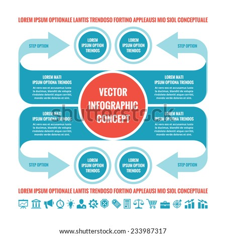 Business infographic concept - vector template illustration in blue and red colors. Original creative scheme with arrows, circles, blocks and icons set. Design elements.  - stock vector
