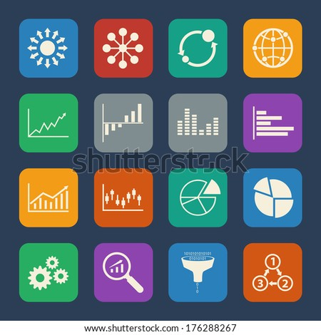 Business Infographic icons set. Flat design for Website and Mobile applications. Vector - stock vector