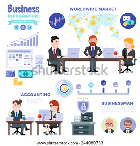 Business Infographic Money & Finance. Worldwide money market workspace finance app Infographic Elements and characters of business man. Modern Flat Vector Design Illustration isolated on white. - stock vector