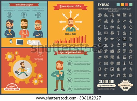 Business infographic template and elements. The infographic template includes illustrations of hipster men and huge awesome set of thin line icons. Modern minimalistic flat vector infographic design. - stock vector