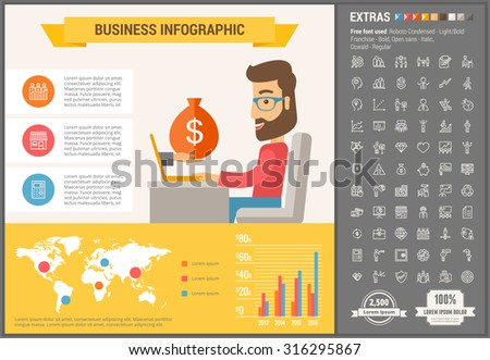 Business infographic template and elements. The template includes illustrations of hipster men and huge awesome set of thin line icons. Modern minimalistic flat vector design. - stock vector