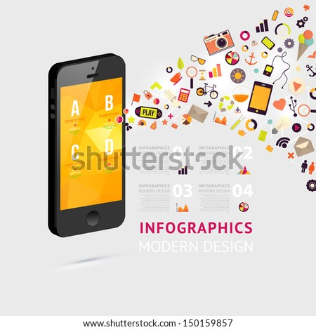 Business infographic template. Mobile phones technology. Diagrams and icons set. Numbered banners. Minimal style design for business graphic. Cutout lines and other website design elements. - stock vector
