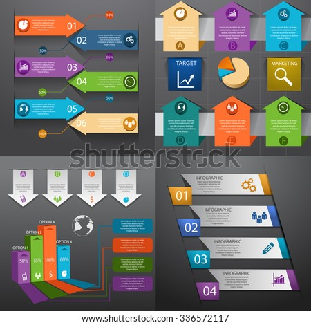 Business infographic template set Vector illustration eps 10 can be used for workflow layout banner diagram number options web design timeline elements - stock vector