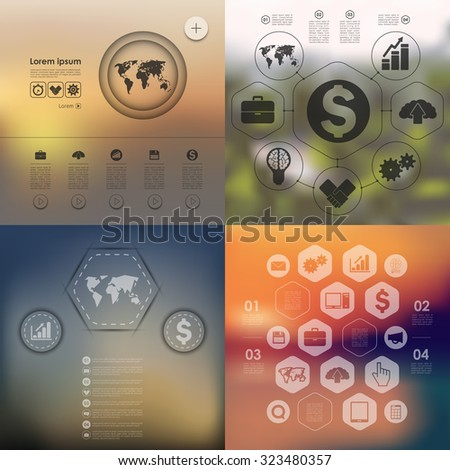business infographic with unfocused background - stock vector