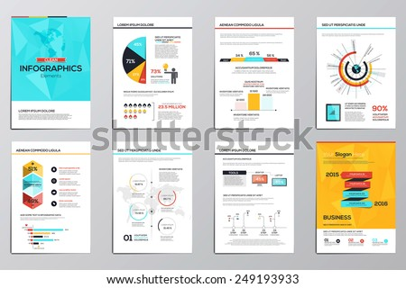 Business infographics elements for corporate brochures. Collection of modern infographic elements in a flyer and brochure concept. Flat and clean design. Vector - stock vector