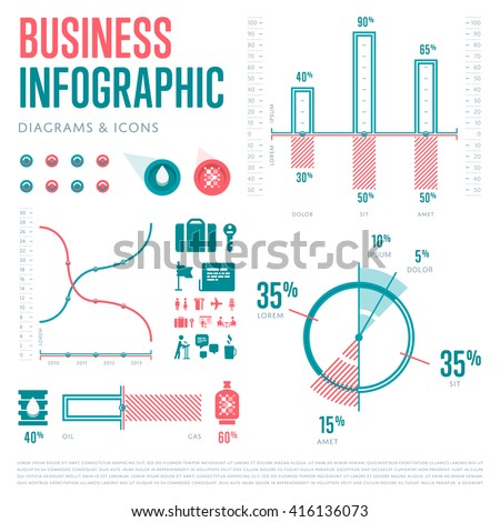 Business Infographics Elements set. Vector Illustration icons. Creative diagrams sign. - stock vector