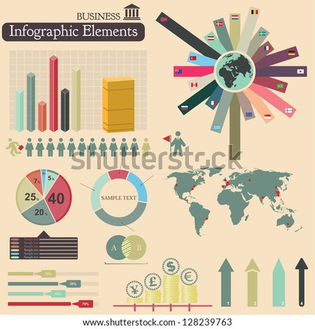 Business infographics set. Vector elements - stock vector