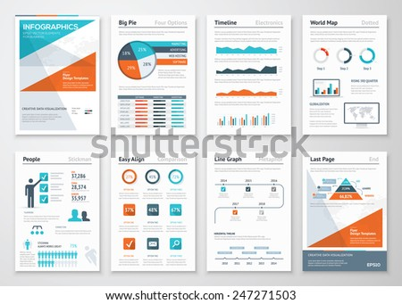 Business infographics vector elements for corporate brochures. Collection of modern infographic metaphors in a flyer and brochure concept, use for marketing, website, print, presentation etc - stock vector
