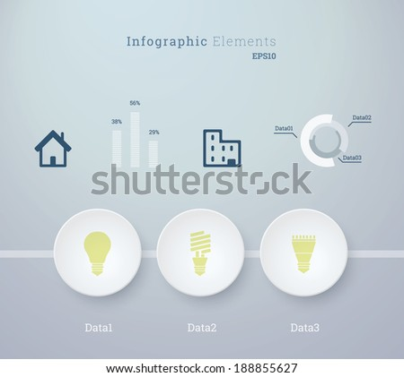 Business infographics vector illustration with light bulb icon set and diagrams for workflow layout, web site design, number options - green, blue version - stock vector