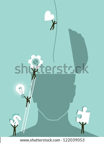 Business innovation brainstorming concept illustration. Vector layered for easy manipulation and custom coloring. - stock vector