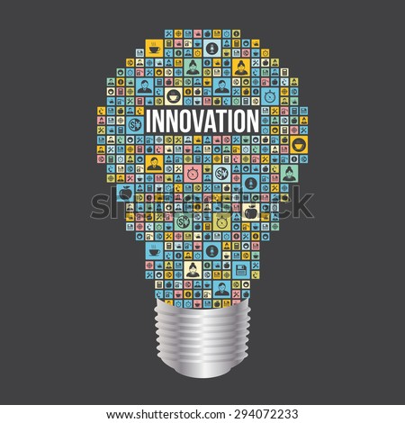 Business innovation with light bulb design from icons infographics - stock vector