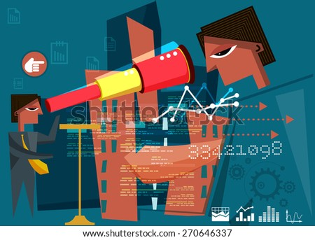 Business Inspirations and Reflections - Illustration - stock vector