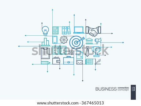 Business integrated thin line symbols. Motion arrows vector concept, with connected flat design icons. Illustration for strategy, service, analytics, research, career, digital marketing concepts - stock vector